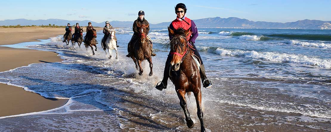 Gallop through splashing Mediterranean Sea