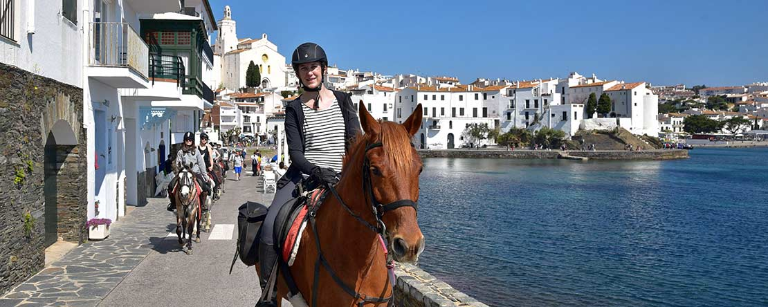 Beautiful Catalan coastal towns Andalusian horses