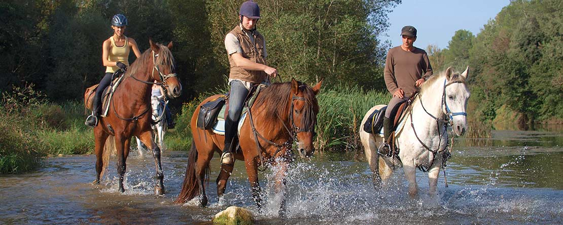 River crossing adventure on Spanish horses