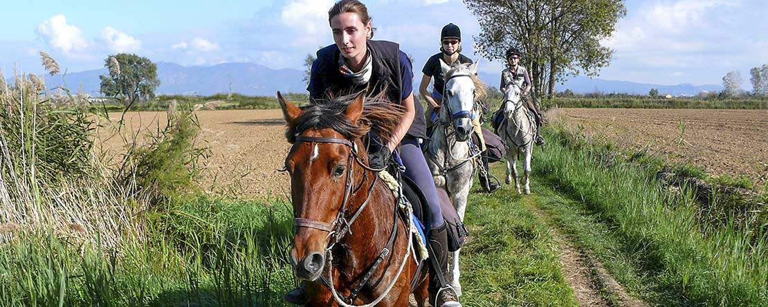 Trail ride across Spanish fields