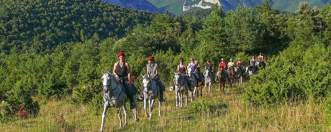 Trail ride Catalonian mountains