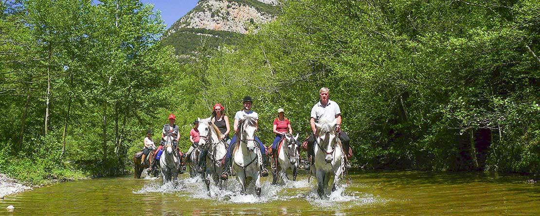 River crossing on Spanish horses