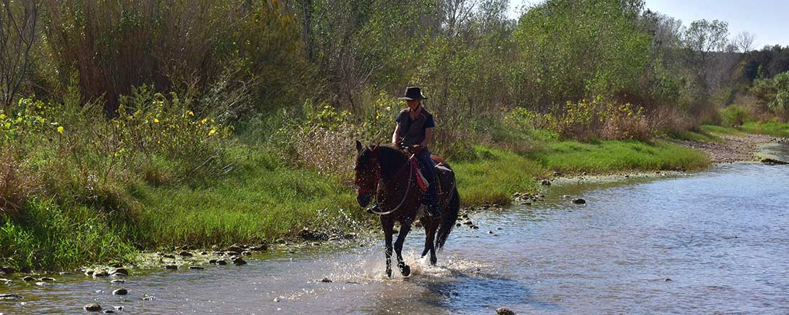 River crossing customized trail ride Catalonia