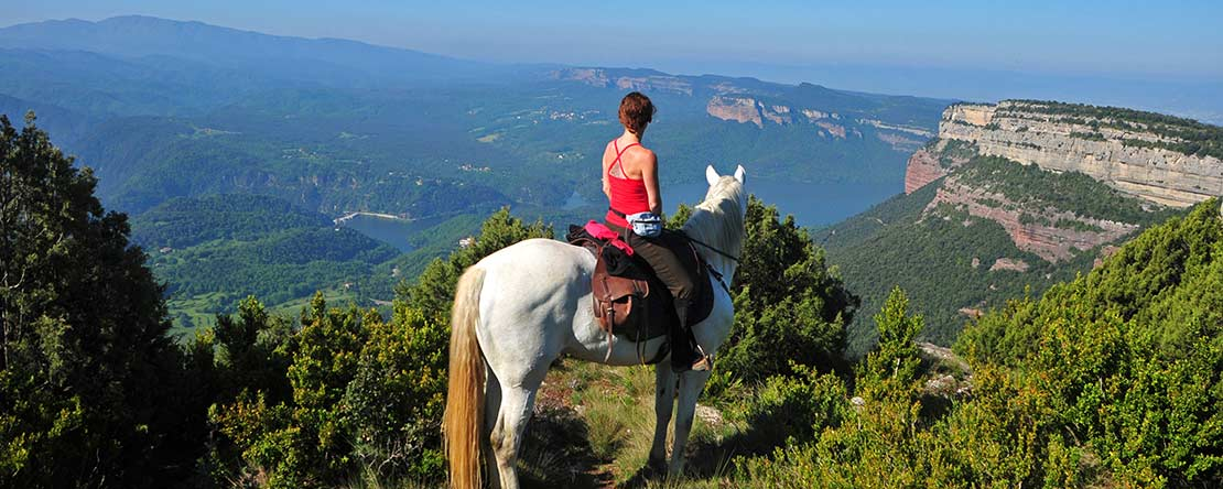 Fantastic panorama amazing horse riding holiday Catalonia