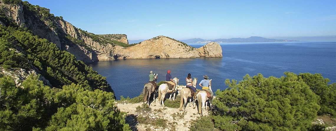 Spanish coast horse riding sand dunes